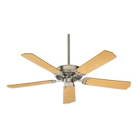 Quorum 77525-656 Capri I 52 inch Satin Nickel with Maple and White Blades Ceiling Fan in Light Kit Not Included
