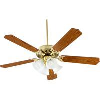Quorum 77525-8102 Capri V 52 inch Polished Brass with Medium Oak Blades Ceiling Fan in Light Kit Not Included