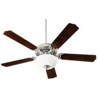Quorum 77525-9065 Capri III Satin Nickel with Reversible Satin Nickel and Walnut Blades Indoor Ceiling Fan