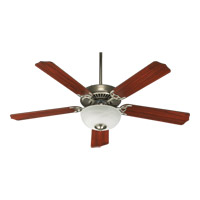 Quorum 77525-9265 Capri III Satin Nickel with Dark Oak Blades Ceiling Fan in Dark Oak and Rosewood, Light Kit Not Included
