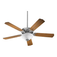 Quorum 77525-9565 Capri III 52 inch Satin Nickel with Dark Oak Blades Ceiling Fan in Faux Alabaster, Candelabra