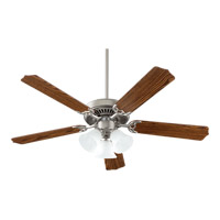 Quorum 7752516652 Capri VI Satin Nickel with Dark Oak Blades Ceiling Fan in 3