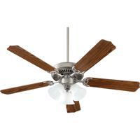 Quorum 7752516652 Capri Vi Satin Nickel with Dark Oak Blades Ceiling Fan in 3