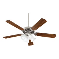 Quorum 7752581652 Capri V 52 inch Satin Nickel with Dark Oak Blades Ceiling Fan in 4
