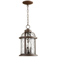 Quorum 7761-3-86 Winston 3 Light 9 inch Oiled Bronze Outdoor Pendant