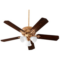 Chateaux 52 inch Vintage Gold Leaf with Reversible Medium Oak and Walnut Blades Uni-Pack Ceiling Fan in White Linen