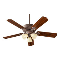 Quorum International Chateaux Uni-Pack 3 Light Ceiling Fan in Toasted Sienna with Amber Scavo 78525-1744