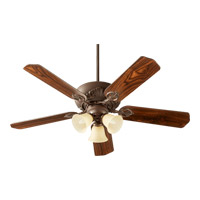 Quorum International Chateaux Uni-Pack 3 Light Ceiling Fan in Oiled Bronze with Amber Scavo 78525-1786