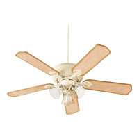 Quorum International Chateaux Uni-Pack 3 Light Ceiling Fan in Persian White with Clear/Seeded 78525-1970