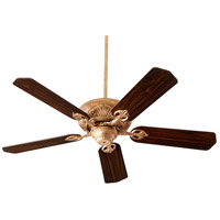 Quorum 78525-30 Chateaux 52 inch Vintage Gold Leaf with Reversible Medium Oak and Walnut Blades Indoor Ceiling Fan in Light Kit Not Included