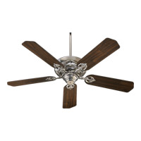 Quorum 78525-65 Chateaux 52 inch Satin Nickel with Reversible Satin Nickel and Walnut Blades Ceiling Fan in Light Kit Not Included
