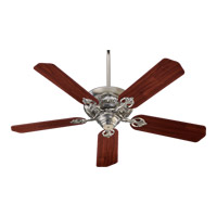 Chateaux 52 inch Satin Nickel with Rosewood Blades Ceiling Fan in Light Kit Not Included