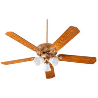 Quorum 78605-1430 Chateaux 60 inch Vintage Gold Leaf with Reversible Medium Oak and Walnut Blades Uni-Pack Ceiling Fan in White Linen