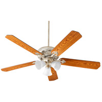 Chateaux 60 inch Aged Silver Leaf with Reversible Medium Oak and Walnut Blades Uni-Pack Ceiling Fan in White Linen