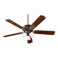 Quorum International Chateaux Uni-Pack 3 Light Ceiling Fan in Oiled Bronze with Faux Alabaster 78605-1686