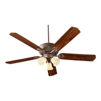 Quorum International Chateaux Uni-Pack 3 Light Ceiling Fan in Toasted Sienna with Amber Scavo 78605-1744