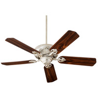 Chateaux 60 inch Aged Silver Leaf with Medium Oak and Walnut Blades Indoor Ceiling Fan