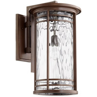 Quorum 7916-11186 Larson 21 inch Oiled Bronze Outdoor Wall Lantern in Clear Hammered Glass Clear Hammered Glass