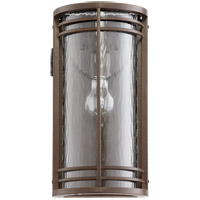 Larson 15 inch Oiled Bronze Outdoor Wall Lantern in Clear Hammered Glass, Clear Hammered Glass