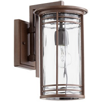 Quorum 7916-7-186 Larson 14 inch Oiled Bronze Outdoor Wall Lantern in Clear Hammered Glass Clear Hammered Glass
