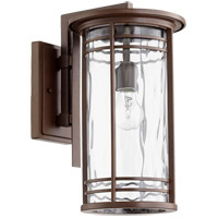 Quorum 7916-9-186 Larson 17 inch Oiled Bronze Outdoor Wall Lantern in Clear Hammered Glass, Clear Hammered Glass