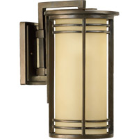 Quorum 7916-9-86 Larson 1 Light 17 inch Oiled Bronze Outdoor Wall Lantern in Amber Scavo