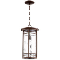 Quorum 7917-9-186 Larson 9 inch Oiled Bronze Outdoor Pendant, Clear Hammered Glass