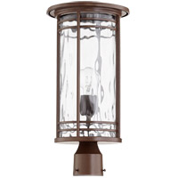 Larson 19 inch Oiled Bronze Post Lantern, Clear Hammered Glass