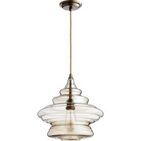 Quorum 8003-386 Signature 1 Light 14 inch Oiled Bronze with Amber Pendant Ceiling Light