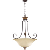Quorum International Capella 4 Light Pendant in Toasted Sienna With Golden Fawn 8101-4-44