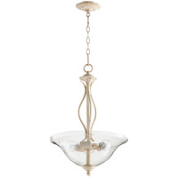 Quorum 8110-3-170 Spencer 16 inch Persian White Pendant Ceiling Light, Clear Seeded
