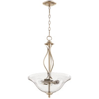 Quorum 8110-3-60 Spencer 16 inch Aged Silver Leaf Pendant Ceiling Light, Clear Seeded