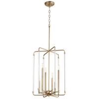 Quorum 8114-6-80 Optic 6 Light 16 inch Aged Brass Entry Pendant Ceiling Light