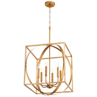 Quorum 8150-6-74 Signature 6 Light 18 inch Gold Leaf Pendant Ceiling Light