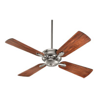 Quorum 81524-65 Valor 52 inch Satin Nickel with Distressed Vintage Walnut Blades Ceiling Fan