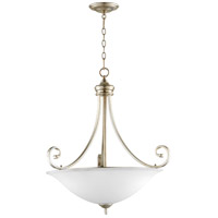 Quorum 8154-4-60 Bryant 28 inch Aged Silver Leaf Pendant Ceiling Light, Satin Opal