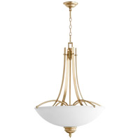 Quorum 8177-5-60 Aspen 5 Light 27 inch Aged Silver Leaf Pendant Ceiling Light
