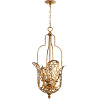 Quorum 8192-4-30 Le Monde 4 Light 16 inch Vintage Gold Leaf Pendant Ceiling Light