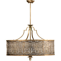 Quorum International French Damask 5 Light Pendant in Vintage Pewter 8197-5-18