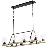 Quorum 83-8-6941 Paxton 8 Light 16 inch Noir with Weathered Oak Chandelier Ceiling Light
