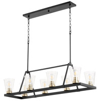 Quorum 83-8-6980 Paxton 8 Light 16 inch Noir with Aged Brass Chandelier Ceiling Light