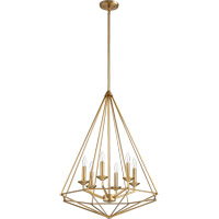 Quorum 8311-6-80 Bennett 6 Light 24 inch Aged Brass Pendant Ceiling Light
