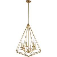 Quorum 8311-6-80 Bennett 6 Light 24 inch Aged Brass Pendant Ceiling Light