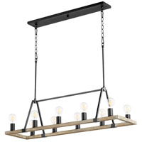 Quorum 84-10-6941 Paxton 10 Light 12 inch Noir with Weathered Oak Chandelier Ceiling Light
