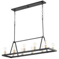 Quorum 84-10-6980 Paxton 10 Light 12 inch Noir with Aged Brass Chandelier Ceiling Light