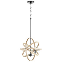 Quorum 86-3-69 Fort Worth 3 Light 17 inch Noir with Driftwood Pendant Ceiling Light