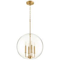 Quorum 873-4-80 Globe Pendant 4 Light 16 inch Aged Brass Pendant Ceiling Light
