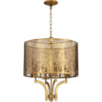 Quorum 8733-4-80 Treescape 4 Light 19 inch Aged Brass Pendant Ceiling Light