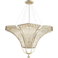 Quorum 875-6-60 Bastille 6 Light 34 inch Aged Silver Leaf Pendant Ceiling Light