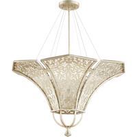 Quorum 875-6-60 Bastille 6 Light 34 inch Aged Silver Leaf Pendant Ceiling Light